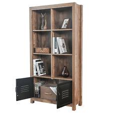 BAHOM Bookcase Storage Shelves, Retro Bookshelf with Doors, 4-Tier Cabinet