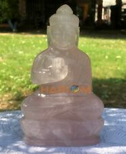 """6.5"""" Beautiful Rose Quartz Hand Carved Buddha Sculpture Precious Stone Art Decor"""
