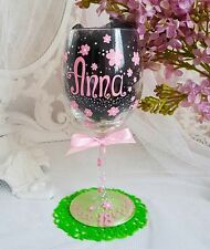 Personalised Hand Painted wine glass birthday gift birthday 30th 21st 50th 18 40