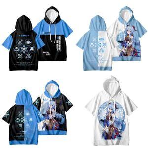 Genshin Impact Ganyu Short Sleeve Shirt Hoodie Unisex Casual Hooded T-shirt