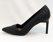 Rachel Zoe Pumps Kenley Chain Link Matte Black Goatskin Leather Shoes size 7.5