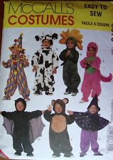 McCalls 8870 Sewing Pattern 7 Costumes Cow, Clown, Witch, Dinosaur, Bear Age 2-4