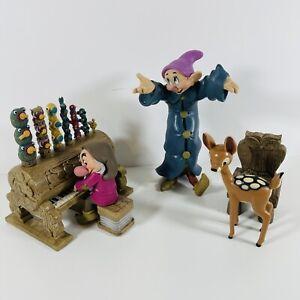Disney Snow White Grumpy Dopey Bambi Piano and Chair Figurines Seven Dwarfs