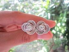1.38 Carat Diamond White Gold Vintage Earrings 12k sep013
