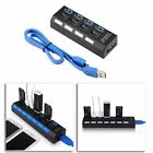 KDQ1 USB 3.0 Hub 4 Ports Speed 5Gbps for PC laptop with on/off switch BLACK CN