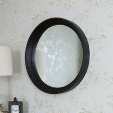 Large black round wall mounted mirror shabby vintage chic retro vanity bathroom
