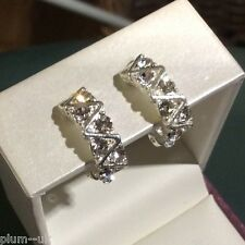 Z23 Plum UK silver / white gold pltd clip on earrings with white crystals BOXED