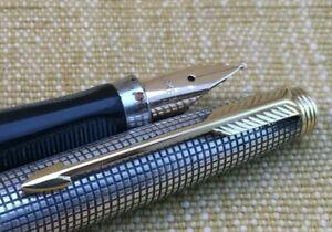 Fabulous Mid Century Modern Sterling Silver Parker 75 Ciselle Fountain Pen