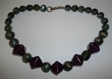 """Vintage Purple & Pearled Green Lucite Beaded Necklace- 20""""L"""