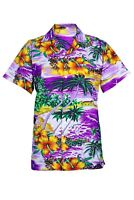 MENS HAWAIIAN SHIRT STAG BEACH HAWAII ALOHA  SUMMER HOLIDAY FANCY PURPLE CLIFF