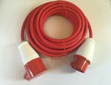 16AMP 3 PHASE 415V RED 5 PIN EXTENSION LEAD RUBBER CABLE HEAVY DUTY INDUSTRIAL