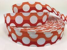"BTY 7/8"" Red And Orange Dots Design Grosgrain Ribbon Hair Bows Lisa"