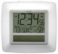 WT-8112U-WH La Crosse Technology Solar Atomic Digital Wall Clock IN Temp / Humid