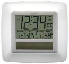WT-8112U-WH La Crosse Technology Solar Atomic Digital Wall Clock IN Temp / Humid