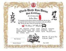 Uechi Ryu Custom certificate 11x14