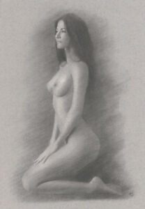 Nude Female ORIGINAL DRAWING Charcoal Fine Art naked woman kneeling NO RESERVE