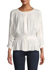 Frame New Silk Buttoned Peplum Top, Off White $325, sz M