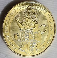 24k Gold Gilded   2016 2 oz British Silver Queen's Beast Lion  .999 pure Silver