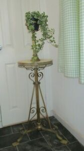 ANTIQUE BRASS AND MARBLE OIL LAMP STAND  PLANT STAND ADJUSTABLE HEIGHT