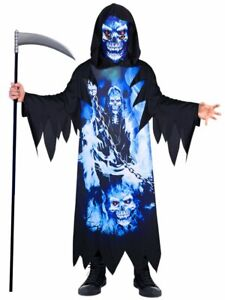 ★ Gespenste Halloween Neon Geist Dementor Grim Reaper Sensenmann kostüm 104-152