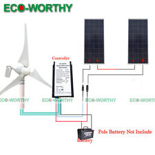 400W Wind Turbine Generator+ 20A Controller +2*160W Solar Panel for Home