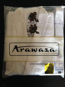NEW ARAWAZA WHITE ADULT WKF KARATE SUIT LIGHTWEIGHT 8oz GI UNIFORM