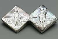 Historismus Silber Brosche Steingravur Relief Muschel um 1890 - 800 Silber /A696