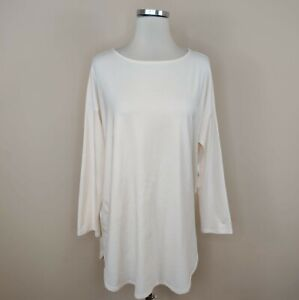 J. Jill Luxe Supima Tunic Top Long Sleeve Ivory L Large Women's