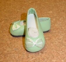 "Doll Shoes, 65mm Light Green slip ons fit Msd Bjds fit 16"" Sasha"