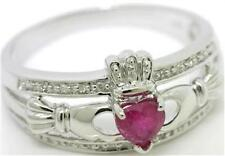 Natural Claddagh Ruby & 20 Diamond 9K 9ct 375 Solid White Gold Celtic Ring