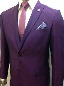 Men's Marc Darcy Designer Purple Notch Lapel Three Piece Wedding Suit Size 34-52