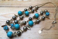 Lovely Long Turquoise & Gold Bead Necklace/Glass/Accessorize/Long Length