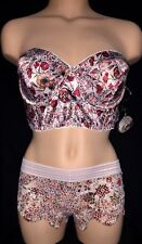 Victorias Secret Pink Red Sexy Angel Strapless Bustier Bra Panty LOT 34B S NWT