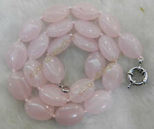 Long 30inch Natural Egg-shaped 13x18mm Pink Rose Quartz Gems Oval Beads Necklace