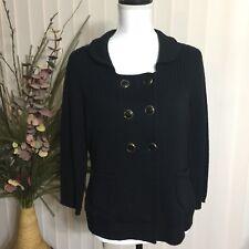 Ann Taylor LOFT Womens Medium Black Knit Cardigan Sweater Wool Double Breasted
