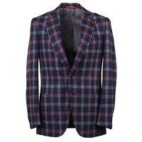 Isaia 'Domenico' Navy-Pink-Gray Check Soft Wool Sport Coat 42R (Eu 52) NWT