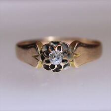 Victorian Old Cut Diamond Solitaire 9ct Rose Gold Gypsy Ring Size L ~ 5 3/4