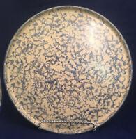 "Robinson Ransbottom 12"" BLUE  Spongeware Stoneware  PIZZA PAN  Roseville  USA"