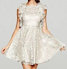 BCBG MAX AZRIA Silver Lace Ruffled Shoulder Dress Size 10 $400