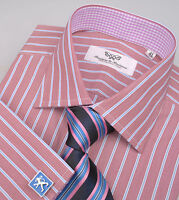 Brown Stripe Formal Business Dress Shirt Lilac Gingham Check Luxury Mens Apparel