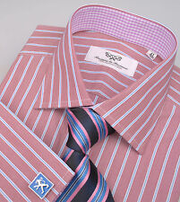 Brown Stripe Formal Business Dress Shirt Lilac Gingham Check Luxury Mens Apparel