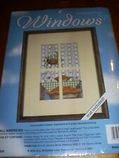 'Window view Apple pie Cross stitch Kit USA with window mount included no frame