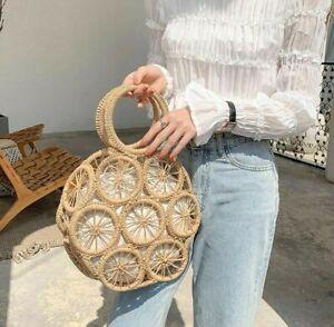 Rattan Wicker Bag Hollow Round Straw Woven Handbag Beach Shoulder Casual Purse