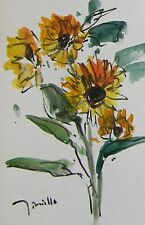 JOSE TRUJILLO Abstract Impressionism Watercolor Painting Sunflowers ORIGINAL Art