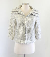 Joes Jeans White Black Fuzzy Tweed 3/4 Sleeve Jacket Blazer Zip Front Wool XS