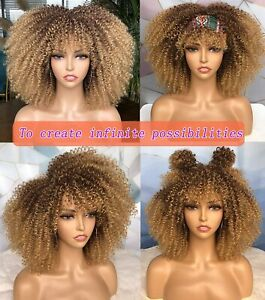 Short Ombre Blonde Curly Afro Wigs Kinky Curly Wigs with Bangs Synthetic Soft
