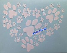 Window Decal Dog Paw Prints In Heart Shape Puppy Rescue Shelter Car Sticker