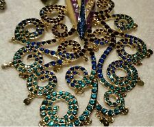 NEW BETSEY JOHNSON PEACOCK NECKLACE;GENUINE BETSEY JOHNSON MULTICOLORED NECKLACE