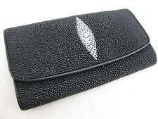 Genuine Stingray Skin Leather Women Trifold Clutch Wallet Black + Free Shipping