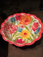 Pioneer Woman Sunny Days Coral Serving Bowl Melamine, Durable, Dish Washer Safe